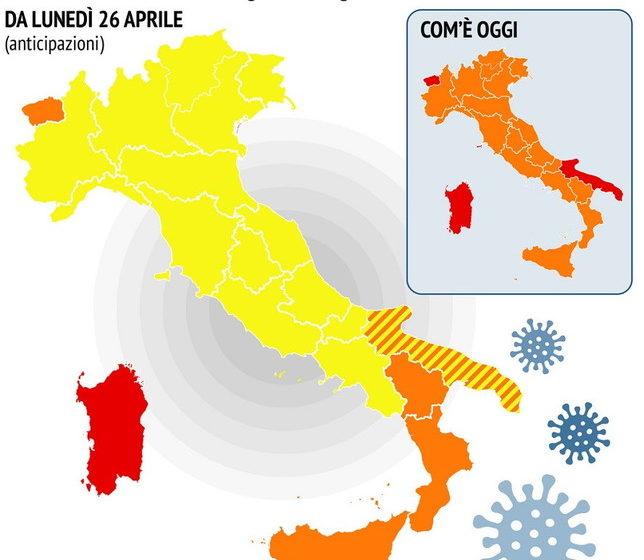24 Aprile, in Italia prevale il giallo